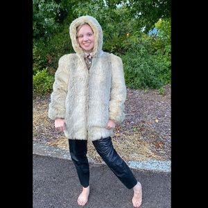 Rare 1980's JORDACHE Faux Fur Coat, Size 9/10
